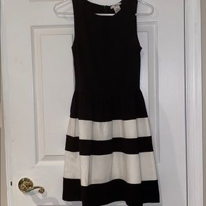 Bar III Black and White Fit and Flare Dress